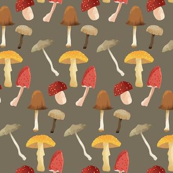 수채화 버섯 패턴