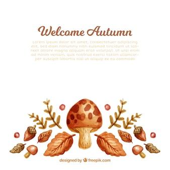 수채화 버섯, 도토리와 나뭇잎