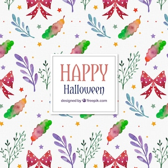 Watercolor mushrooms and flowers pattern