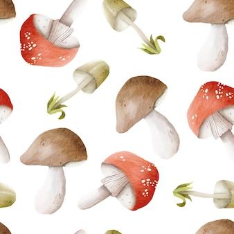 Акварельные грибы узор фона
