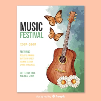 Watercolor music festival poster template