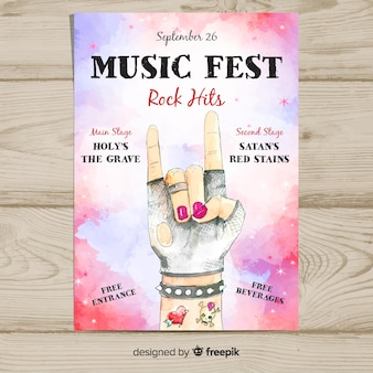 Watercolor music festival poster