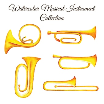 Watercolor musical instrument collection
