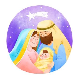 Watercolor nativity scene concept