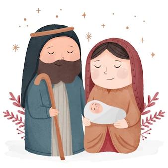 Акварельная иллюстрация сцены рождества