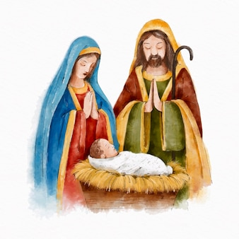 Watercolor nativity scene illustration