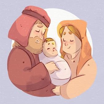 水彩のキリスト降誕のシーン