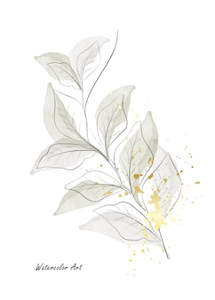Watercolor natural art invitation card of green leaves branches decorated with gold splashes. art botanical watercolor hand-painted isolated on white background. brush included in file.
