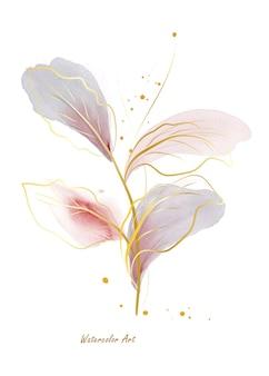Пригласительный билет акварель естественного искусства из нежных листьев золотой линии, украшенных золотыми деопсами. художественная ботаническая акварель ручная роспись, изолированные на белом фоне. кисть включена в файл.