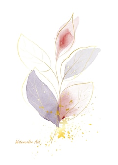 Пригласительный билет акварель естественного искусства из нежных листьев золотой линии, украшенных золотым всплеском. художественная ботаническая акварель ручная роспись, изолированные на белом фоне. кисть включена в файл.
