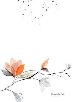 Watercolor natural art invitation card with branches, leaves and orange flowers. art botanical watercolor hand-painted isolated on white background. brush included in file.