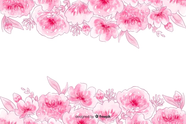 Акварель естественный фон с цветами