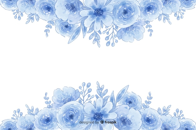 Watercolor natural background with flowers