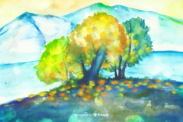 Watercolor natural background with landscape
