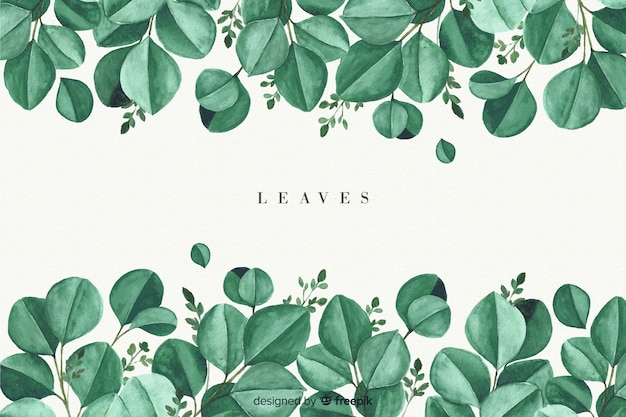Watercolor natural background with leaves