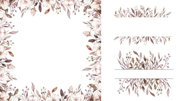 Watercolor natural boho floral flower arrangement border frame