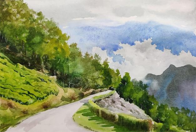 수채화 자연과 아름다운 landscpae 손으로 그린 그림