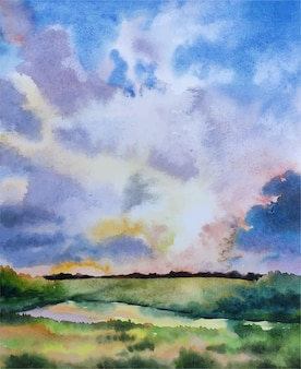 수채화 자연과 하늘 반사 손으로 그린 그림