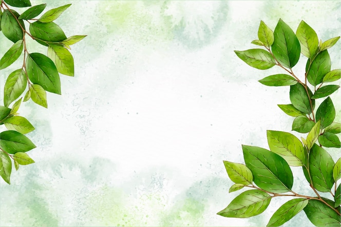 Watercolor nature background with leaves