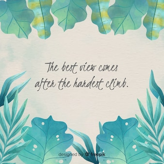 Watercolor nature background with quote