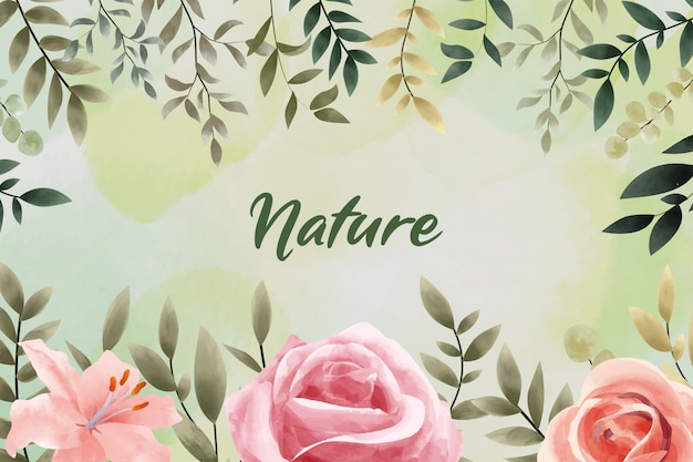 Watercolor nature background with rose flower vintage style