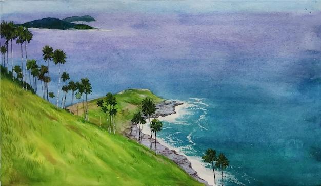 Watercolor nature and beautiful landscpae hand drawn illustration