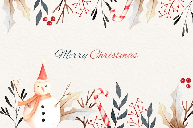 Watercolor nature christmas background