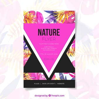 Watercolor nature flyer template