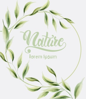 Watercolor nature green leaves wreath