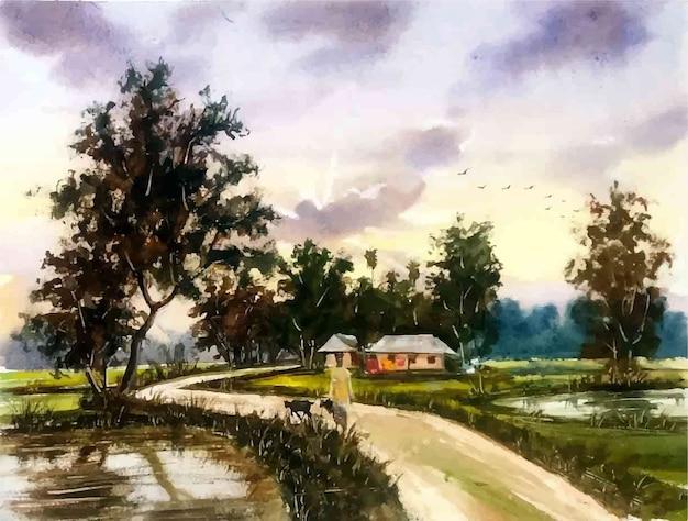 水彩の自然の風景と田舎の村の生活手描きイラスト