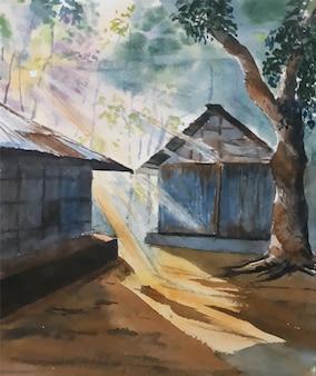 Акварель природа пейзаж утренний свет с домом