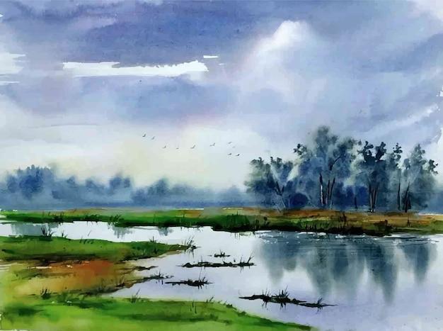 水彩画の自然の風景の田舎と手描きの湖のイラスト