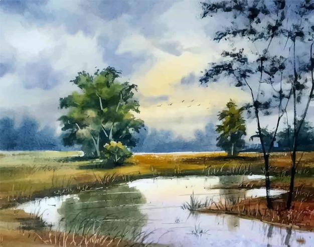 Акварель природа пейзаж сельский и рисованной иллюстрации озера