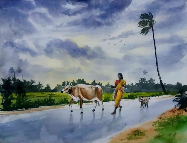 Watercolor nature landscape and rural village life hand drawn illustration