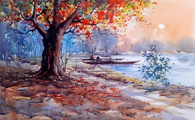 Watercolor nature landscape sketch on hand drawn illustration