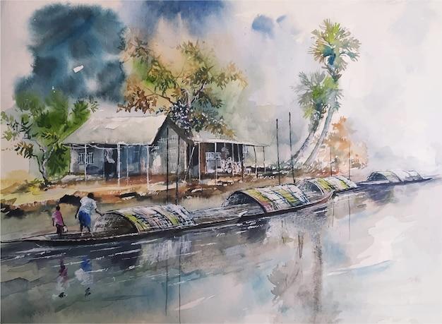 Watercolor nature landscape sketch on hand drawn illustration