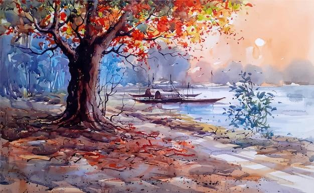Акварель природа пейзаж эскиз на рисованной иллюстрации