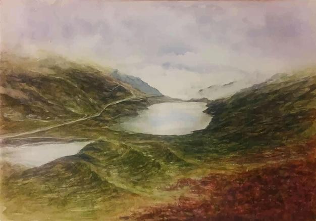 수채화 자연 산 운하 그림