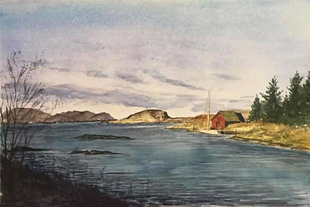 수채화 자연 산 바다 그림