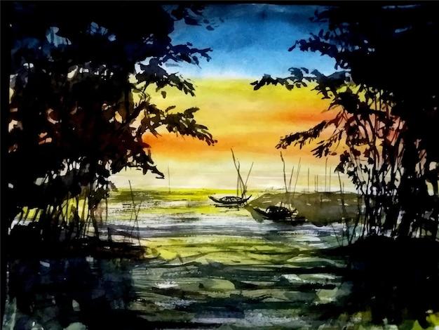 강 그림에 수채화 자연 그림 보트