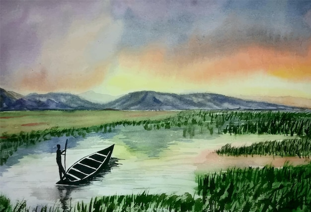 Watercolor nature painting boat on the river illustration
