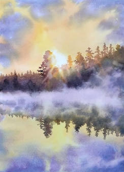 Watercolor nature and sky reflection hand drawn illustration