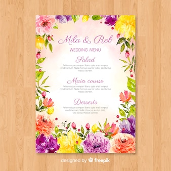 Watercolor nature wedding menu template