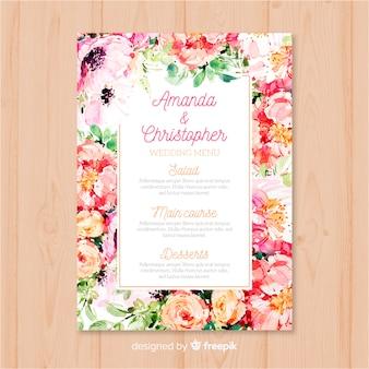 Watercolor nature wedding menu template