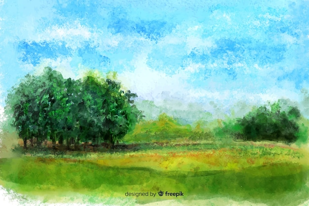 Watercolor natutral landscape with trees