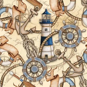 水彩航海のテーマのシームレスなパターン