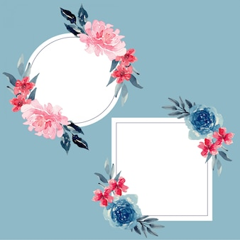 Watercolor navy and berry vintage floral frame