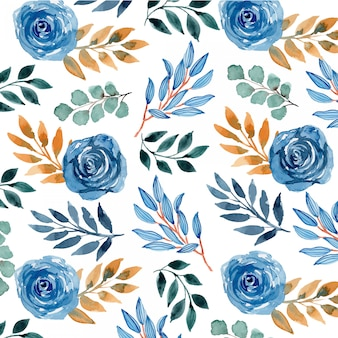 Watercolor navy blue floral seamless pattern