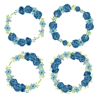 Watercolor navy flower wreath circle frame set