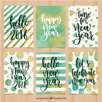 Watercolor new year 2018 cards in green